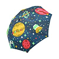 InterestPrint Funny Space Planets and Spaceships Windproof Automatic Open And Close Foldable Umbrella, Travel Compact Unbreakable Rain And Sun Umbrella
