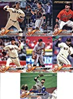 2018 Topps San Francisco Giants Team Set of 8 Baseball Cards (Series 1): Hunter Pence(#47), Johnny Cueto(#70), Matt Moore(#161), Ty Blach(#165), Brandon Belt(#210), Christian Arroyo(#249), Buster Posey(#250), Jeff Samardzija(#274)