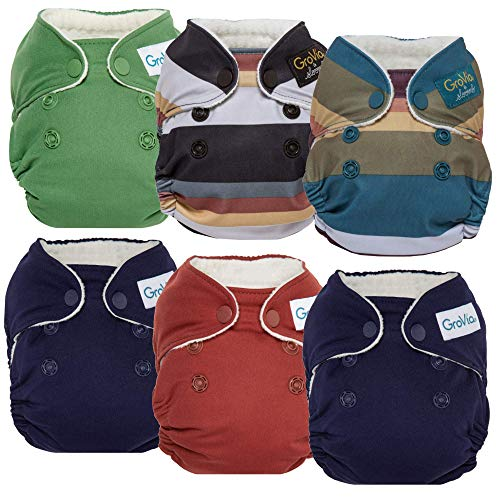 GroVia Newborn All in One Snap Reusable Cloth Diaper (AIO) - 6 Pack (Color Mix 5)
