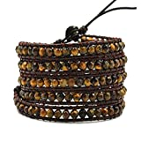 Tiger Eye Wrap Bracelet Natural Brown Leather 5 layers 4 mm Beads Fashion Jewelry