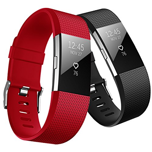 Hanlesi Band for Fitbit Charge 2, TPU Soft Silicone Adjustable Replacement Sport Strap Large and Small Band for Fitbit Charge 2 Band Smartwatch Heart Rate (Red Polyurethane Watch)