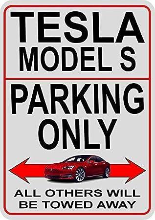 LYNNYO22/Tesla Model S parking only metal Sign 30,5/x 40,6/cm avviso elettrico sport super auto lingua inglese