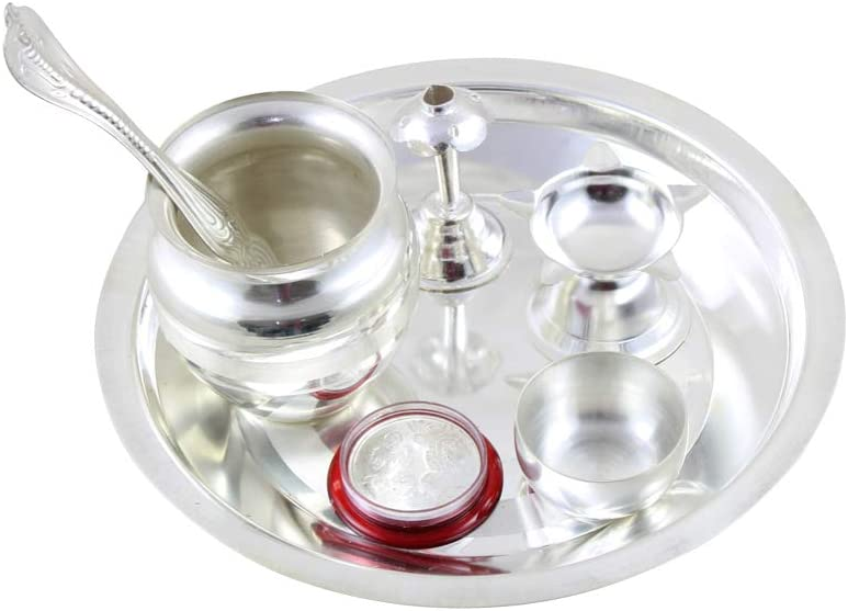 Return Gift for Housewarming GoldGiftIdeas 7 Inch Kalash Tarbhana Silver Plated Pooja Thali Set Pooja Thali Decorative
