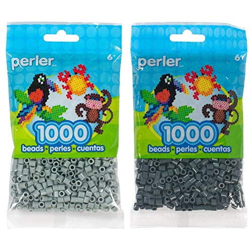 Perler Bead Bag 1000, Bundle of Pewter and Charcoal (2 Pack)