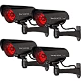 WALI Bullet Dummy Fake Surveillance Security CCTV Dome Camera Indoor Outdoor with 30 Illuminating LED Light + Warning Security Alert Sticker Decals (B30-4), 4 Packs, Black