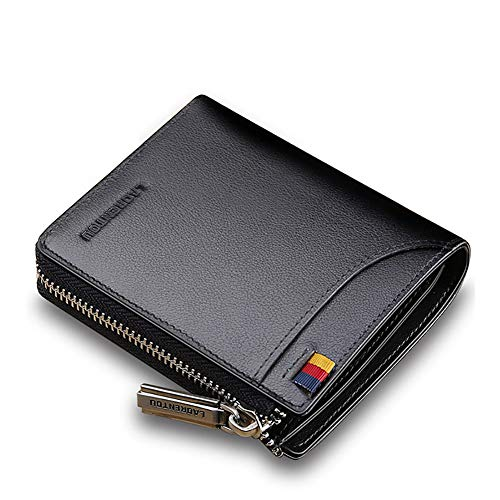 LAORENTOU Genuine Leather Wallets for Men, RFID Blocking, Multi Card Holder Slim Mens Wallet with Zipper Coin Purse, Bifold Wallet for Man, Boys, Teens(Black) ()