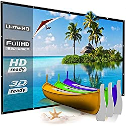 120 Inch Projector Screen Outdoor, YF2009 HD 16:9 Large Foldable Portable Movie Screen for Indoor Home Theater/Office Presentation/Camping. Easy to Hang on Mount/Wall, Support Double Sided Projection