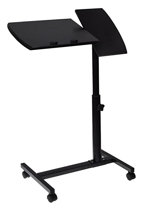 amazon com rolling adjustable laptop desk table stand tray over