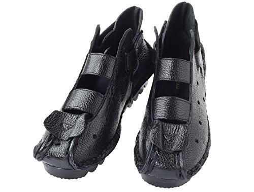 Mordeniss Frauen Sommer neue Leder Huarache Sandalen Stil 2-schwarz