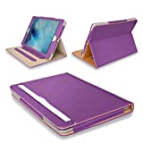 MOFRED Purple & Tan Apple iPad Executive Leather Case for Apple iPad 9.7' (For 2017 & 2018 Versions)- Voted by 'The Daily Telegraph' as #1 iPad Case! (iPad Models A1822, A1823, A1893, A1954)