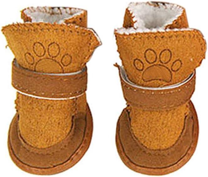 Homeofying - 4 Botas de Chihuahua Antideslizantes para Mascotas, Suela Suave, cálidas y Ajustables para Invierno