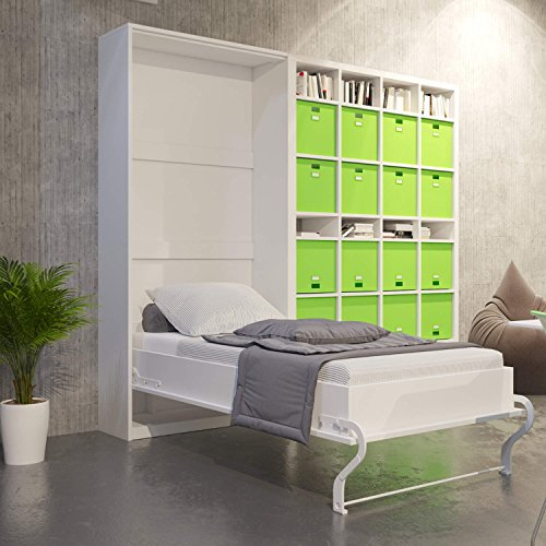 klappbett schrankbett murphy bed wandbett wall bed 90x200 vertikal wei bettmix. Black Bedroom Furniture Sets. Home Design Ideas