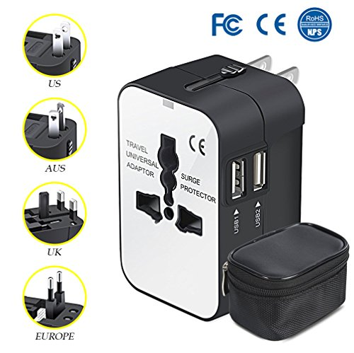 Travel Adapter All in One Universal Adapter for USA EU UK AUS Europe, AC Wall Outlet Charger Plug Adapter Converter…