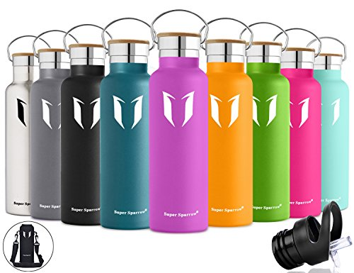 Super Sparrow Stainless Steel Vacuum Insulated Water Bottle, Double Wall Design,Standard Mouth - 500ml & 750ml - BPA Free - with 2 Exchangeable Caps + Bottle Pouch (Lilac Purple, 500ml-17oz)