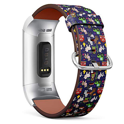 Compatible with Fitbit Charge 3 & 3 SE - Leather Wristband Bracelet Replacement Accessory Band (Includes Adapters) - Tileable Farm Animal Barnyard