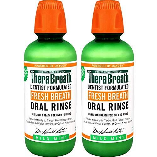 TheraBreath Fresh Breath, 24 Hour Dentist Formulated Oral Rinse, Mild Mint, 16 Oz (Pack of 2)