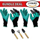 Garden Genie Gloves BUNDLE PACK [2 Pairs + Premium Tool Set] - Sturdy Right Hand Claws on Fingertips for Gardening - Assists Digging, Planting, and Pruning - For Men, Women, Kids, Children