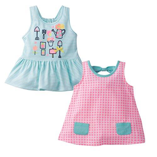 Gerber Graduates Baby Girls' Toddler 2pk Combo Top, Gingham/Garden, 3T