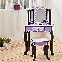 Mesa de tocador morada de madera con espejo y banqueta de Teamson ...