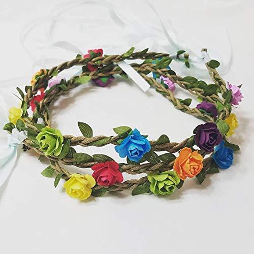 hippie rainbow hairband floral headband gypsy rainbow crown fairy Crown flower crown pride hair crown Boho Rainbow flower headband