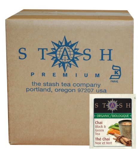 Stash Tea Organic Black and Green Tea Bags in Foil, Chai Spice, 100 Count (packaging may vary) Spice Green Tea