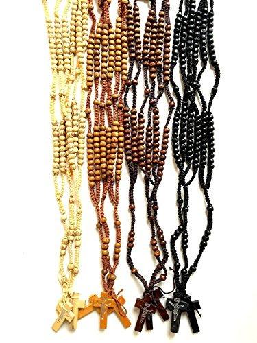 (Wood Beads Rosary Set Of Twelve Prayer Necklaces Handmade Jesus Cross Jerusalem)