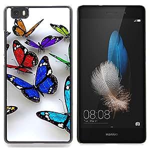 """Qstar Arte & diseño plástico duro Fundas Cover Cubre Hard Case Cover para Huawei Ascend P8 Lite (Not for Normal P8) (Butterfly 3D Naturaleza Blanca Limpieza de Primavera"""")"""