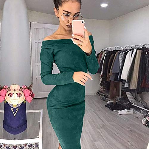 Dress Up Clothes for Little Girls 2 Years,Fashion Women Huge Suede Long Sleeve Solid Off Shouder Bodycon Party Dress,Socks & Hosiery,Green,XL by AMSKY