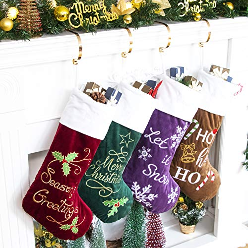 GEX 2019 Family Christmas Stockings 4 Pack Embroidery Classic Luxury Velvet 22