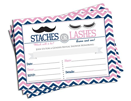 Amazoncom 50 Gender Reveal Invitations and Envelopes Staches