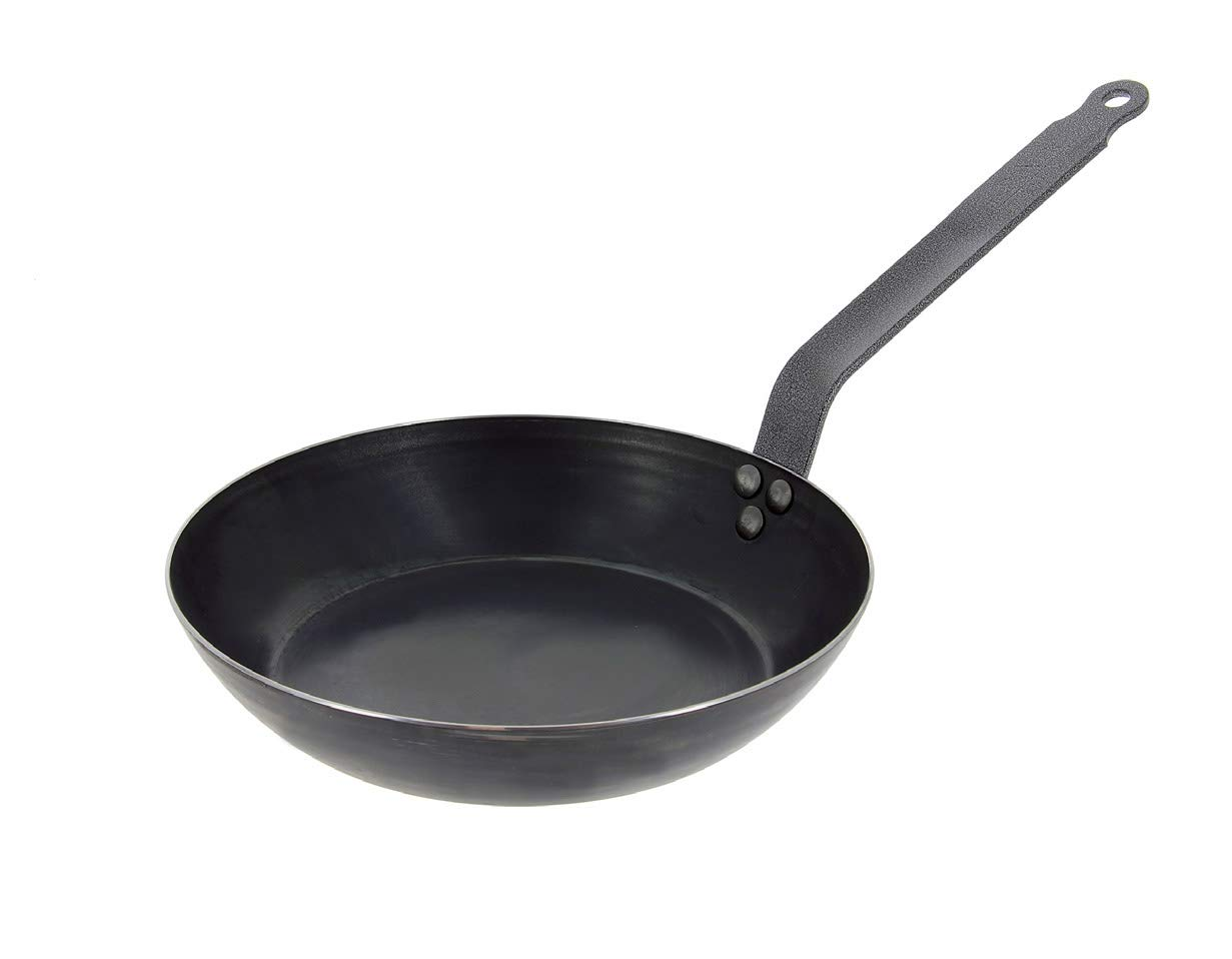 De Buyer Professional 24 cm Blued Iron Force Blue Frying pan with Riveted Handle 5300.24