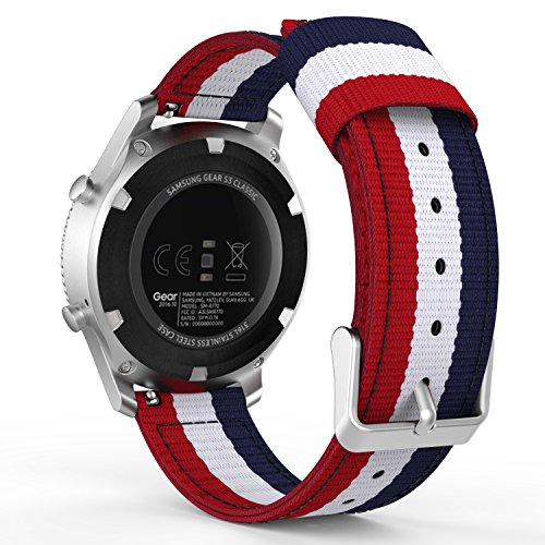 MoKo Gear S3 Watch Band, Fine Woven Nylon Adjustable Replacement Band Sport Strap for Samsung Gear S3 Frontier / S3 Classic/Galaxy Watch 46mm / Moto 360 2nd Gen 46mm Smart Watch, Blue & White & Red