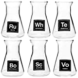 Drink Periodically Set of 6 Laboratory Erlenmeyer Flask Shot Glasses, Clear Glass-2.75oz each