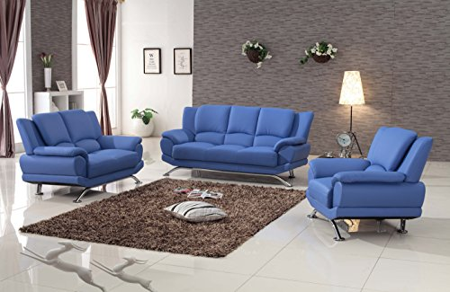 Matisse Milano Leather Sofa Set Blue