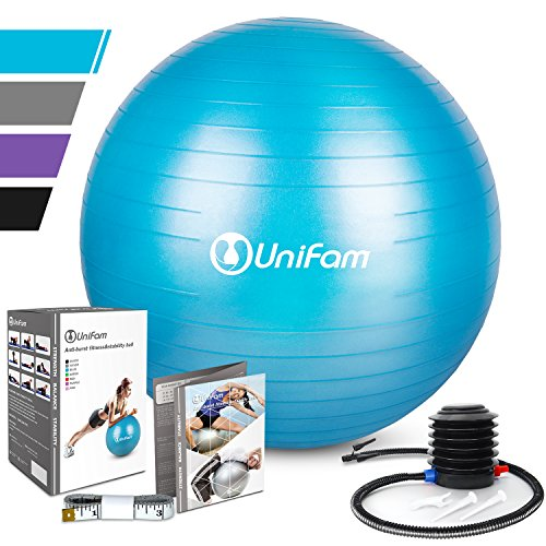 Exercise Yoga Stability Ball Chair with Hand Pump Use For CrossFit, Yoga, Balance & Core Strength Training, Non-Slip & Anti-Burst Extra Thick Fitness Ball(Blue&55CM)