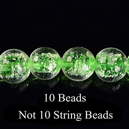 Calvas New Arrival 10-12mm White Dot Round Glass Beads for Making Jewelry Loose Smooth Beads Handmade DIY Beads for Beadwork - (Color: Light Green, Item Diameter: 12mm)