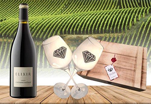 Wunderschönes Premium Weingeschenkset SHIRAZ Baron Bertrand ELIXIR französischer Rotwein (Frankreich) mit 2 Original geschrägten Rotweinkelchen in der exklusiven Geschenkverpackung Vintage Echtholz-Kiste mit authentischem Siegel