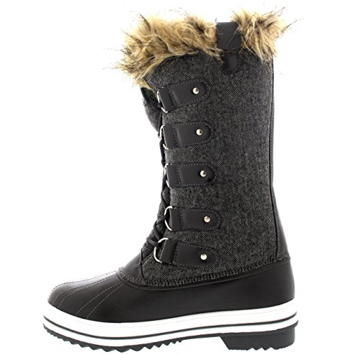 Polar Products Womens Lace Up Rubber Sole Tall Winter Snow Rain Shoe Boots Grey Textile ADg963bTKh