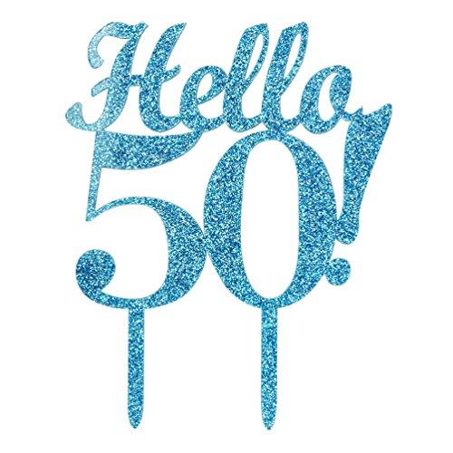 INNORU-Hello-50-Cake-Topper-50th-Birthday-Wedding-Anniversary-Party-Blue-Glitter-Cake-Decoration