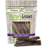 "Nature Gnaws Beef Paddywack Jerky Wrap 6-8"" (10 Pack) - 100% All Natural Grass-Fed Beef Dog Chews - for Large Dogs & Aggressive Chewers"