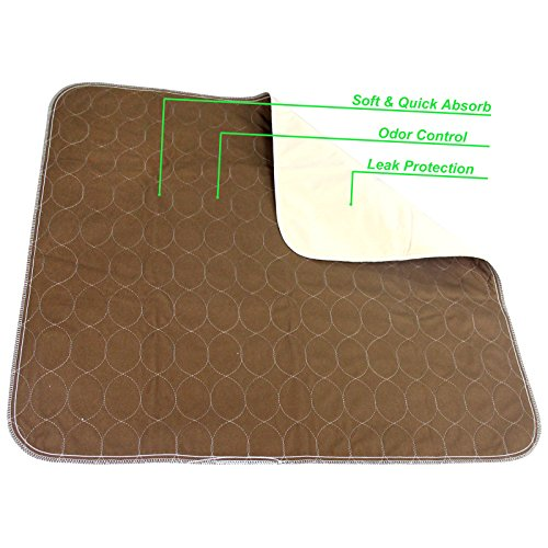 Paw Legend Reusable Dog Pee Pads (2 Pack) of 30''x32'' - Washable Dog Training Pads, Large Travel Pad for Pets(1 Brown & 1 Tan) by Paw Legend (Image #3)'