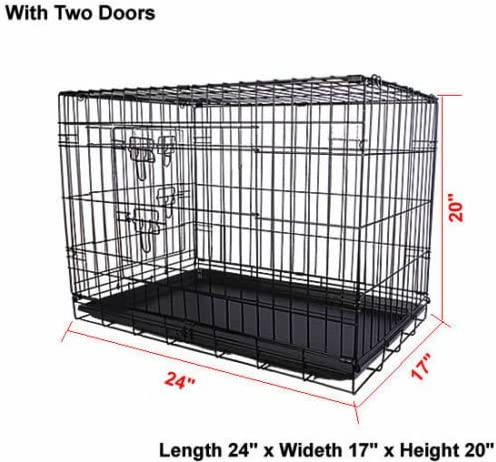 36/'/' 2 Doors Wire Folding Pet Crate Dog Cat Cage Suitcase Kennel Playpen w// Tray