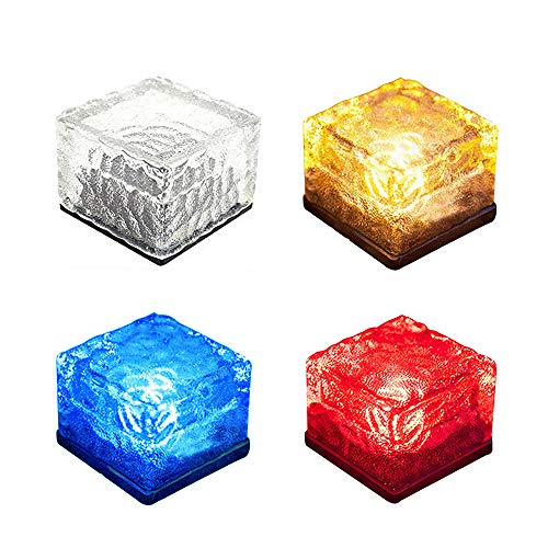 YOUDirect Solar LED Lights - Waterproof Crystal Glass Brick LED Night Lamp Sensor Solar Ice Rocks Light for Garden Courtyard Pathway Pool Pond Outdoor Decoration (Set of 4(White+Blue+Red+Yellow)) by YOUDirect