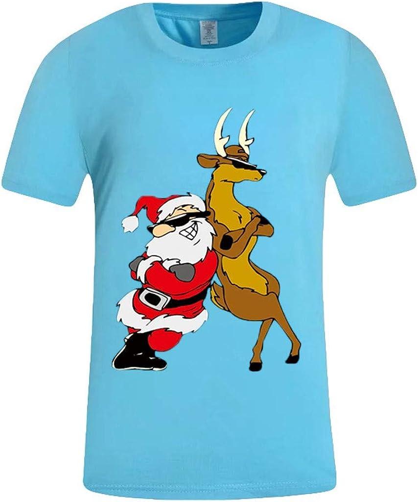 Zilosconcy Mens Tops Casual Designer Xmas t Shirts Men Funny Printed t Shirts Mens Short Sleeve Round Neck Leisure Stretch Shirts Funky tee Shirt