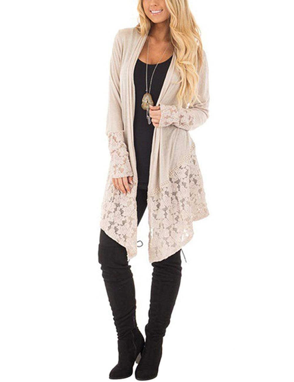 Buy Leoie Women Fashion Knitted Lace Cardigan Hollow Out