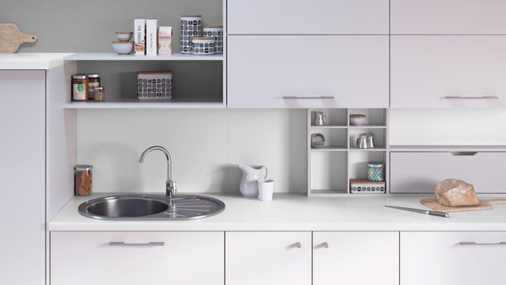 Egger Contemporary Premium White Effect Laminate Kitchen Worktops - 38mm Offcut Bathroom Work Surface 40mm Breakfast Bar - 1m x 600mm x 38mm Worktop