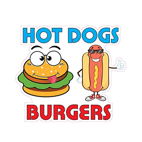 Hot Dogs Burgers Concession Restaurant Die-Cut Window Static Cling 10 inches Inside Glass