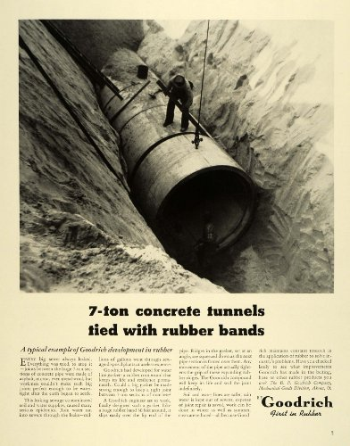 1941 Ad Goodrich Rubber Tires Mechanical Mining Engineering Sewage Water Pipes - Original Print Ad from PeriodPaper LLC-Collectible Original Print Archive