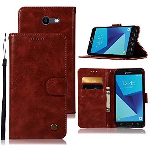 For Samsung Galaxy J7 V / J7 2017 / J7 Prime / J7 Perx / J7 Sky Pro Cases, Zoeirc Luxury PU Leather Wallet Flip Protective Case Cover with Card Slots and Stand (Burgundy)