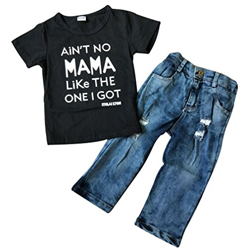 Toddler Baby Boy Clothes Short Sleeve T-shirt +Denim Pants Outfits Set, Black, 3T
